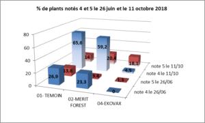 % de plants notés morts suite attaques hylobes